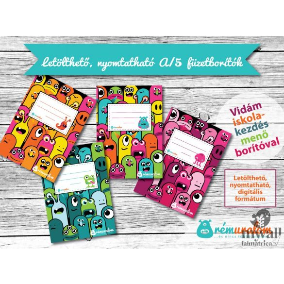 A/5 füzetborító LETÖLTHETŐ, NYOMTATHATÓ designer borító
