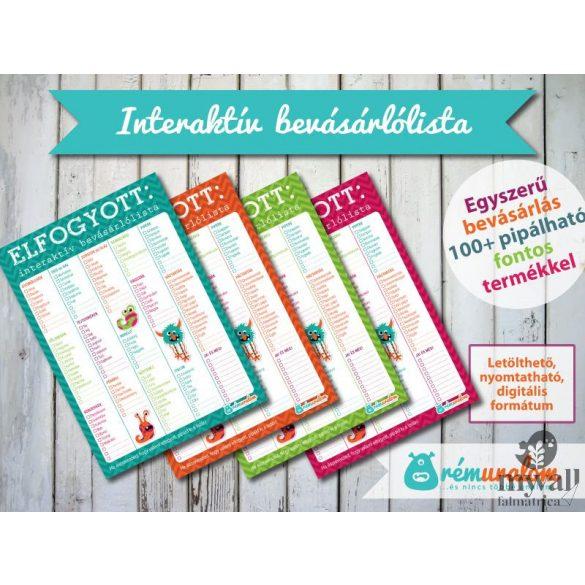 Interaktív bevásárlólista LETÖLTHETŐ, NYOMTATHATÓ designer termék